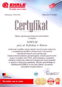 Certyfikat myjnia Nowum